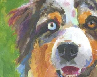 Australian Shepherd Art Print of Original Acrylic Painting 11x14