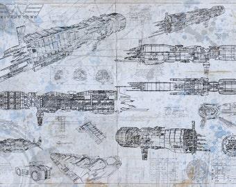 Aliens U.S.S Sulako aged Blueprint design (A2 = 420mm*594 or 16.5' * 23.4')