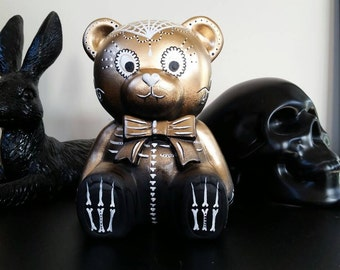 Hand painted dia de los muertos style teddy bear money box
