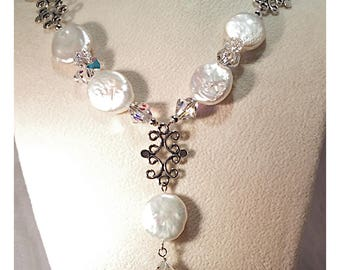 Unique Freshwater Coin Pearl Necklace