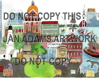 BOSTON MEMORIES   **As Seen on Set of TV Series The McCarthys ***  Giclee from Watercolor Painting  - Comes with Mat - Unframed