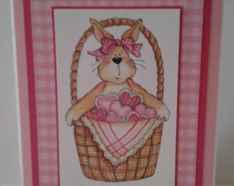 Bunny and Hearts-in-a-Basket Valentine Note Card
