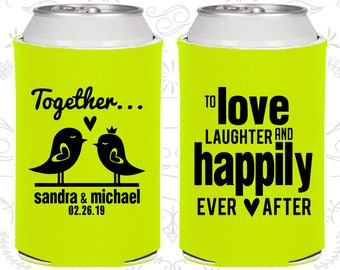 Love Laughter and Happily Ever After, Personalized Wedding Gift, Love Birds, Wedding Can Coolers (80)