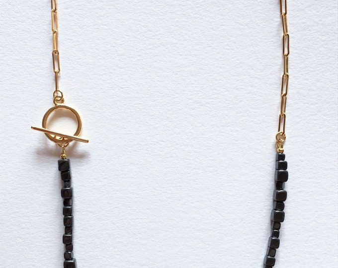 Hematite necklace, Golden brass chain necklace with hematite gemstones