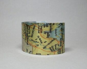 Jackson Hole Wyoming Grand Teton National Park Map Cuff Bracelet Unique Gift for Men or Women
