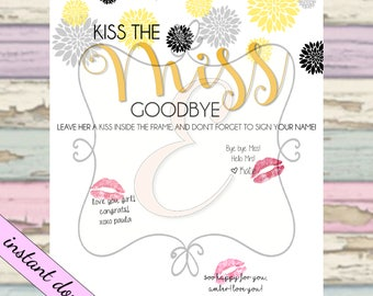 Lipstick Guestbook Kiss The Miss Goodbye Bride To Bee Bachelorette Party Bridal Shower