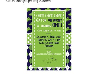 Preppy Gator Invitation 4x6 or 5x7 digital you print your own- Design 55
