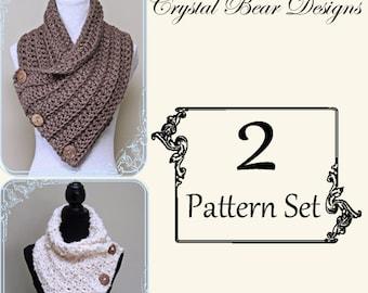 Crochet Button Cowl 2 PATTERN Set / Button Scarf / Neck Warmer / PATTERN Discount / Pattern Bundle / Package Deal / PDF