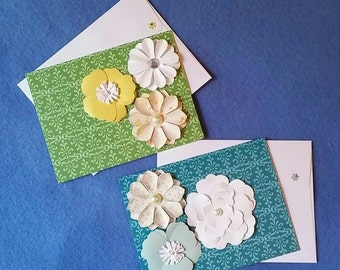 Two Colorful Damask Blank Cards with Flowers - green and teal