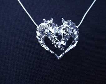 Driving horses w/ harness platinum plated pendant & chain horse jewelry
