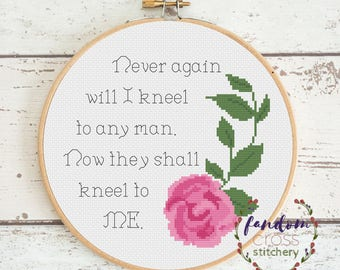 Never Again Will I Kneel To Any Man, Now They Shall Kneel To Me Cross Stitch PDF Pattern    Feminism Cross Stitch   Feminist Cross Stitch