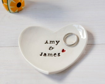 Personalised Wedding Gift Ring Dish custom ceramic heart wedding ring bearer bowl