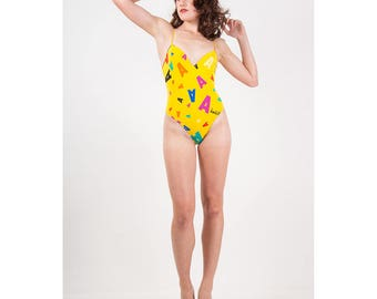 Vintage Versace Mare / Absolut one piece high cut swimsuit bodysuit / XS S