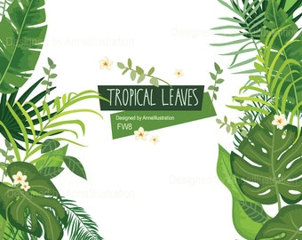 Tropical Leaves Clipart,Green leafs,Palm Leaf,Greenery Spring,flowers Clipart,Blush Clipart,Vector_ FW8
