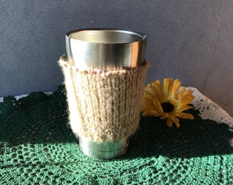 Memory Gift, Reusable Heat Sleeve from a Repurposed Sweater, Eco Chic Mug Glove, Memorial Coffee Cup Cozy, Keep Them in Your Thoughts