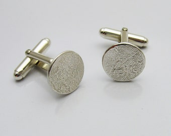 Fingerprint Cufflinks, Personalized Silver Cufflinks, Silver Fingerprint Cufflinks, Personalized Gift for Men, Fingerprint Gift for Men