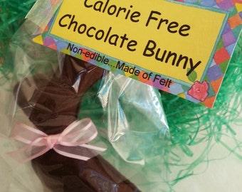 """Felt Chocolate Bunny,Calorie Free Felt """"Chocolate"""" Easter Bunny,Felt Easter Bunny,Chocolate Bunny,Easter Bunny,Bunny,Easter Gift,Felt Bunny"""