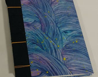 Blue & violet wave coptic bound journal