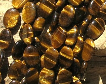 Tiger Eye Beads - 10x15mm Flat Ovals - 8 Inch Strand of 14 Beads