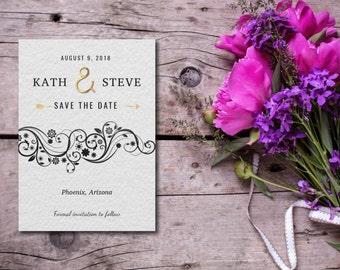 Save The Date Invitation, Silver Party Invitation, Gray and Gold, Floral, Template, DIY, EDITABLE PDF, Printable Instant Download E53A