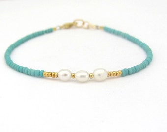 Pearl Bracelet, Real Pearl Bracelet, Turquoise Bracelet, Friendship Bracelet, Beaded Bracelet, Hawaii, Miss Ceces Jewels Hawaii Jewelry