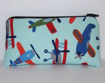 "Pipe Pouch, Airplanes Bag, Pipe Case, Pipe Bag, Padded Pipe Pouch, Glass Pipe Cozy, 420, Flying Planes Gift, Padded Zipper Bag - 5.5"" SMALL"