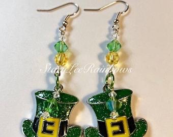 Leprechaun Hat Womens Dangle Earrings St Patrick's Day Jewelry Earrings