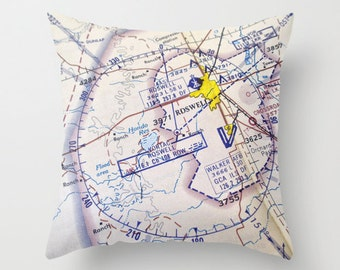 Roswell Pillow, Throw Pillow,  Aviation Aeronautical Chart,Home Decor