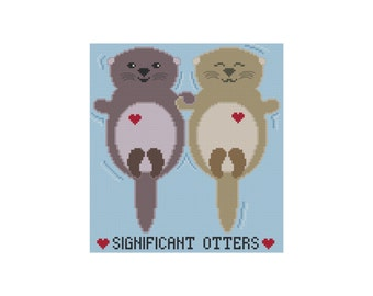 Cross Stitch Pattern, Significant Otters Cross Stitch Pattern, Instant Download PDF, Counted Cross Stitch Chart, Cowbell Cross Stitch