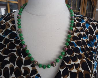 """Vintage Knotted Glass Beaded Necklace, Green Beads w/ Pink and Gold Wedding Cake Glass Beads, Filigree Bead Caps, 24"""" Long"""