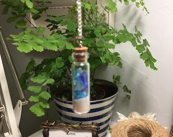 Sea glass, tiny bottle, miniature, glass bottle, necklace, jewelry, cork top, beachy, sand