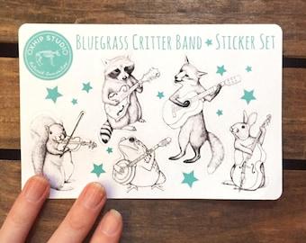 Bluegrass Sticker Pack. Animal Sticker Sheets. Die Cut Stickers. Cute Animal Band Gift. Unique Scrapbook Stickers. Scrapbooking Supplies.