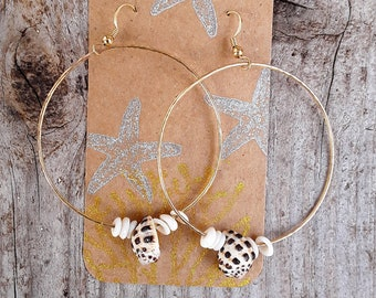 14k gold filled hoops with hawaii druppe and puka shells,made in hawaii,bridal,beachy,boho,