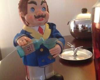 Vintage Barware Toy - Captain Blushwell - battery operated 1960's Toy - looks great for your Bar