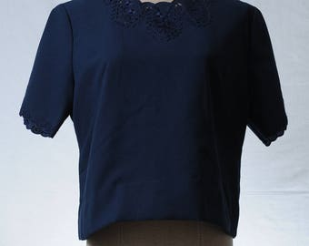 Vintage reconstructed navy lace embroidered crop top