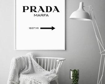 Prada print, Prada Marfa print, Fashion print, Prada, Fashion wall art poster for home, Paris print, Prada Marfa sign, Living room poster.