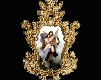 Eros and Psyche in Baroque frame. Var.2. Wall decor.