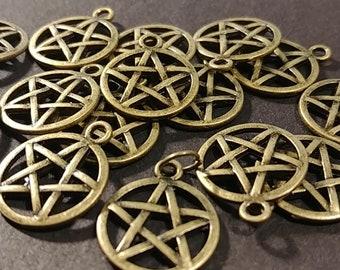 Bronze Pentagram Charms