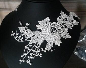 lace Choker necklace white piece unique! wedding