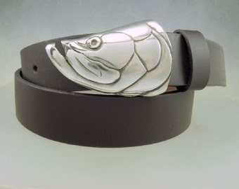 Tarpon Fish Belt Buckle in Solid Sterling Silver Hand Made for 1.25 and 1.5 belts