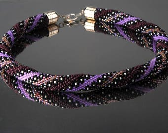 Beaded Crochet Rope Necklace-Handmade -Seed Bead Jewelry
