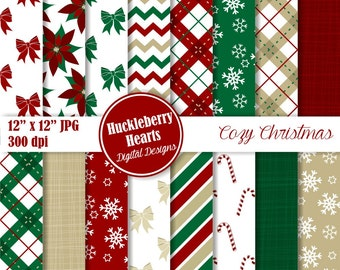 Cozy Christmas Digital Papers, Christmas Patterns, Christmas Paper, Holiday Paper, Scrapbook Paper