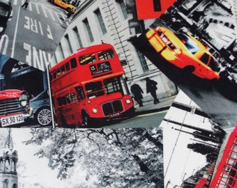 London New York Newspaper printed Cotton fabric pieces Popart