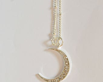 Silver Crescent Moon Necklace- Silver plated moon charm/ pendant- silver plated chain