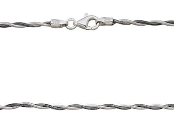 """Twisted Snake Chain 18"""" with spring ring  - Sterling Silver Black Rhodium & Bright - Item # 3009OXBR-SC"""