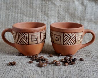 Rustic coffee mug Cup set Small cups Gourmet gift New mom gift Brown mug Clay cup Engraved mug Coffee for two Cappuccino mug Pottery mug