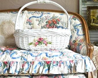 Large Shabby rose magazine basket-Diaper basket-Wicker storage basket-Shabby wedding decor-Shabby-Baby shower gift idea-Large wicker basket