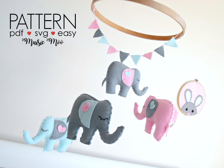 Elephant nursery mobile pattern diy felt baby mobile pattern svg this is a digital file jeuxipadfo Gallery
