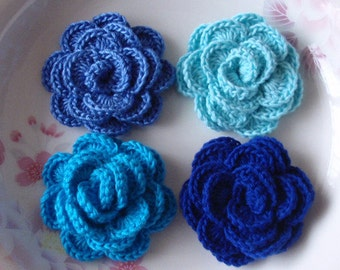 4 Crochet  Flowers Roses In 2 inches YH -138-02