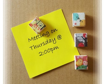 Bird theme Scrabble Tile Thumb Tacks ~ Set of 4 ~ Cubicle Decor ~ Teacher Gifts ~ Co-Worker Gifts